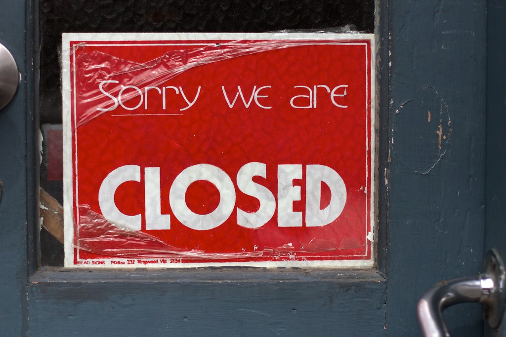 """""""Closed as in Sorry"""" by cogdogblog is licensed under CC0 1.0"""